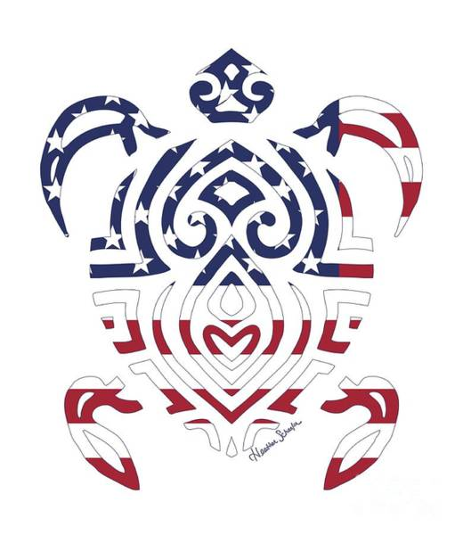 Digital Art - Made In The Usa Tribal Turtle by Heather Schaefer