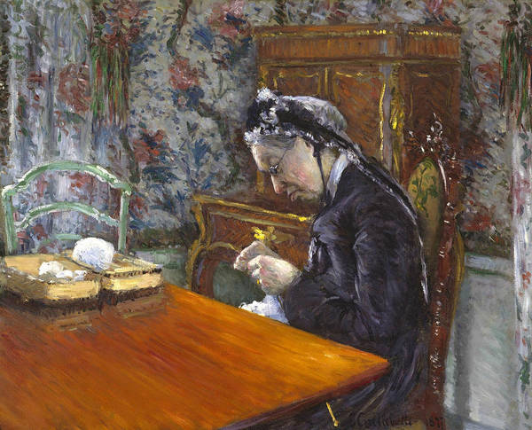 Painting - Mademoiselle Boissiere Knitting by Gustave Caillebotte