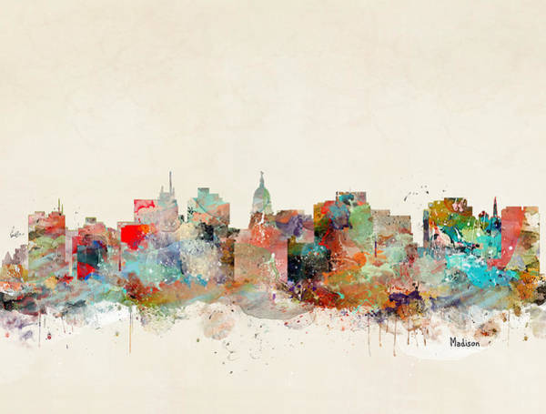 Wisconsin Wall Art - Painting - Madison City Skyline by Bri Buckley
