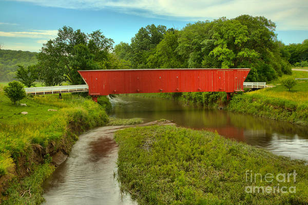 Photograph - Madison County Covered Bridge Landscape by Adam Jewell