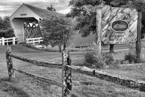 Photograph - Madison County Imes Bridge Black And White by Adam Jewell