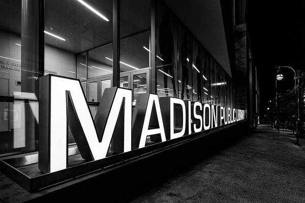 Photograph - Madison Library Monochrome by Randy Scherkenbach