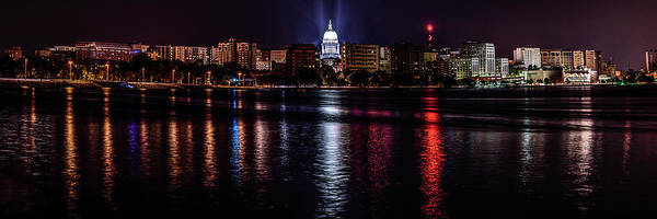 Photograph - Madison Skyline At Night by Randy Scherkenbach