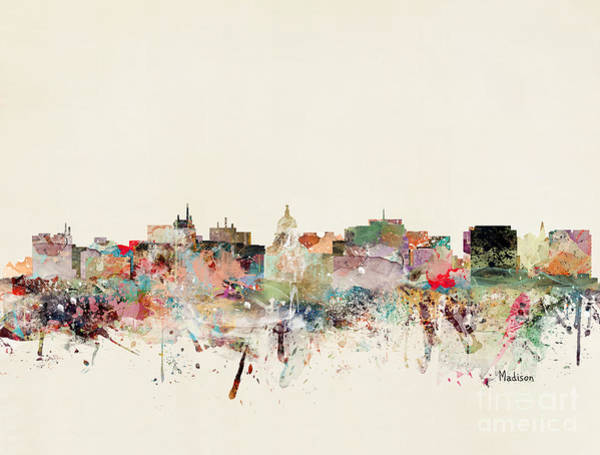 Wisconsin Wall Art - Painting - Madison Skyline by Bri Buckley