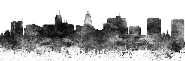 Wall Art - Digital Art - Madison Skyline Panorama Uswima-pa02 by Aged Pixel