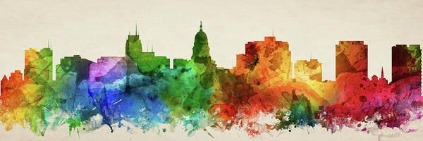 Wall Art - Digital Art - Madison Skyline Panorama Uswima-pa03 by Aged Pixel