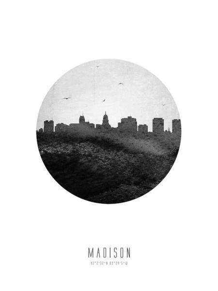 Wall Art - Digital Art - Madison Skyline Uswima04 by Aged Pixel