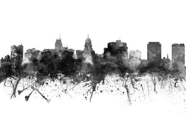 Wall Art - Digital Art - Madison Skyline Uswima09 by Aged Pixel
