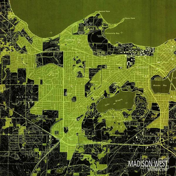 Nordic Digital Art - Madison West Green Old Map, Year 1959 by Drawspots Illustrations