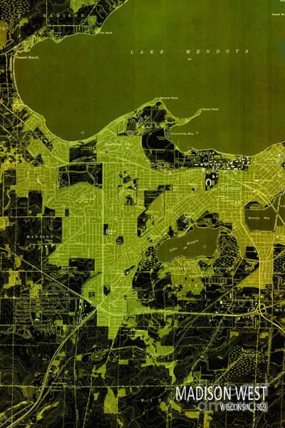Wall Art - Digital Art - Madison West Old Map by Drawspots Illustrations