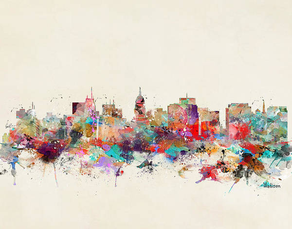 Wisconsin Wall Art - Painting - Madison Wisconsin  by Bri Buckley