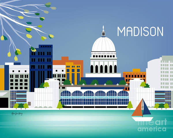 Lake Digital Art - Madison Wisconsin Horizontal Skyline by Karen Young