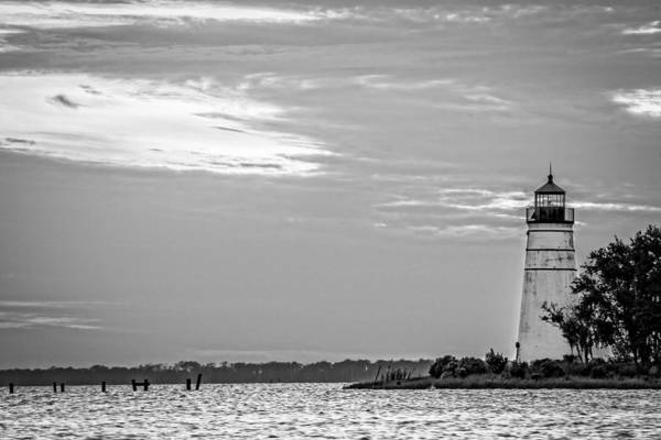 Photograph - Madisonville Lighthouse In Black-and-white 2 by Andy Crawford