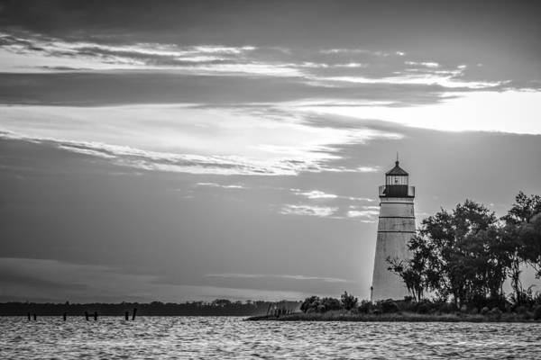 Photograph - Madisonville Lighthouse In Black-and-white by Andy Crawford