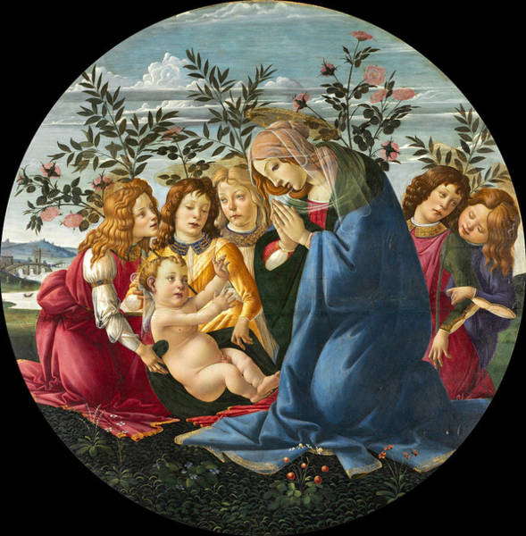 Botticelli Wall Art - Painting - Madonna Adoring The Child With Five Angels by Sandro Botticelli