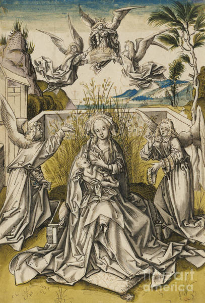 Wall Art - Painting - Madonna And Angels In A Landscape by Hans Holbein the Elder