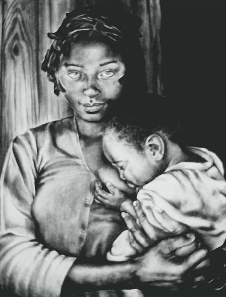 Madonna Drawing - Madonna And Child by Curtis James