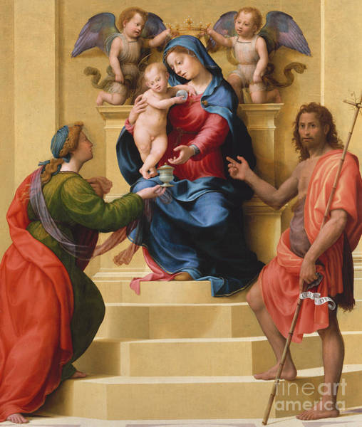 Wall Art - Painting - Madonna And Child Enthroned With Saints Mary Magdalene And John The Baptist by Giuliano Bugiardini
