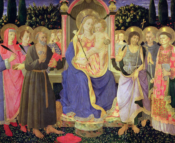 Assisi Painting - Madonna And Child Enthroned With Saints  by Master of the Buckingham Palace Madonna