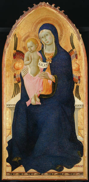 Painting - Madonna And Child Enthroned With Two Cherubim                                by Osservanza Master