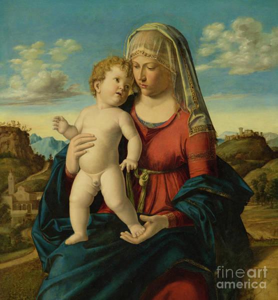 Wall Art - Painting - Madonna And Child In A Landscape by Giovanni Battista Cima da Conegliano