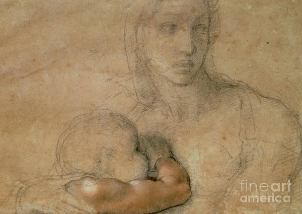 Wall Art - Drawing - Madonna And Child by Michelangelo