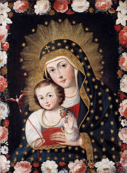 Wall Art - Painting - Madonna And Child With Bird by Peruvian artist