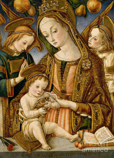 Carnation Painting - Madonna And Child With Two Angels by Vittorio Crivelli