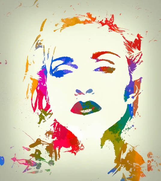 Wall Art - Painting - Madonna Color Paint Splatter by Dan Sproul