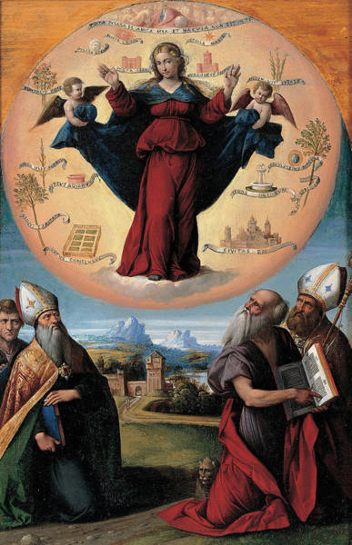 16th Century Wall Art - Painting - Madonna In Glory And Holy Hones by Garofalo