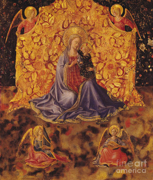 Putto Painting - Madonna Of Humility With Christ Child And Angels by Fra Angelico