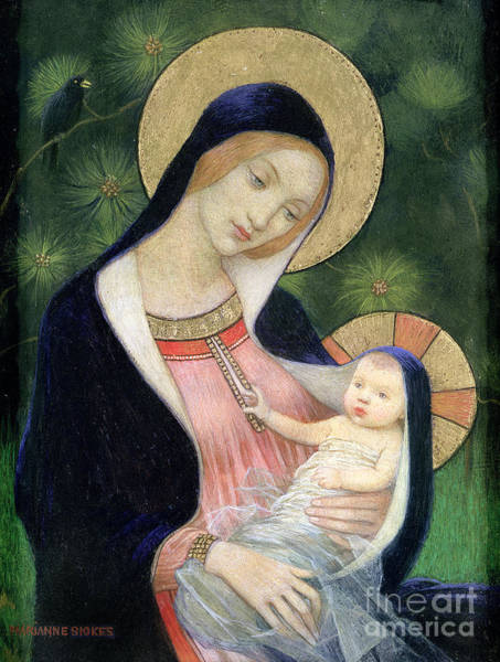 Card Painting - Madonna Of The Fir Tree by Marianne Stokes