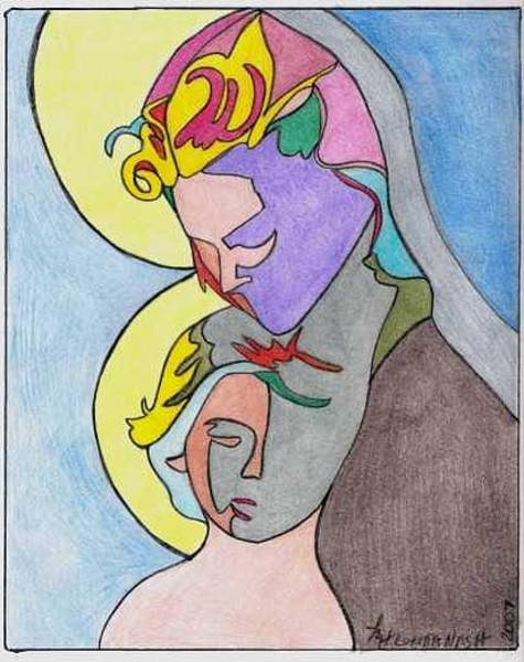 Drawing - Madonna With Child by Loretta Nash