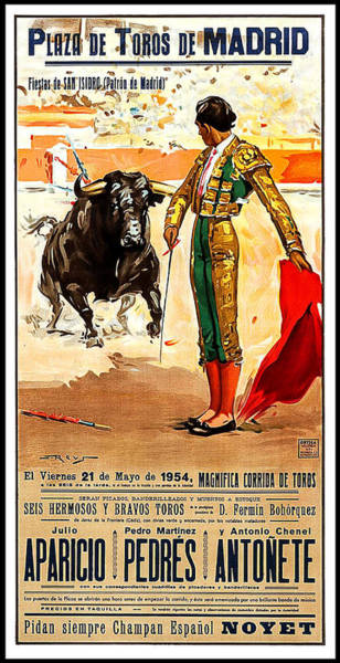 Arena Painting - Madrid, Arena, Bullfighting, Vintage Poster by Long Shot