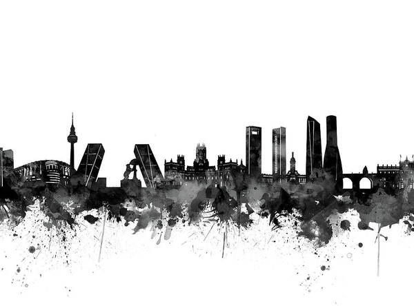 Barcelona Digital Art - Madrid City Skyline Black And White by Bekim Art