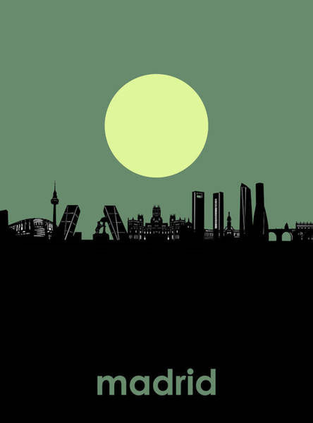 Barcelona Digital Art - Madrid City Skyline Minimalism by Bekim Art
