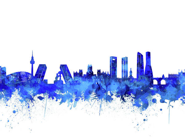 Barcelona Digital Art - Madrid City Skyline Watercolor Blue by Bekim Art