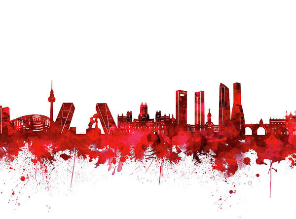 Barcelona Digital Art - Madrid City Skyline Watercolor Red by Bekim Art
