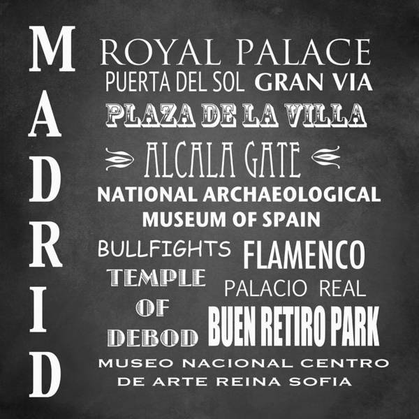 Wall Art - Digital Art - Madrid Famous Landmarks by Patricia Lintner