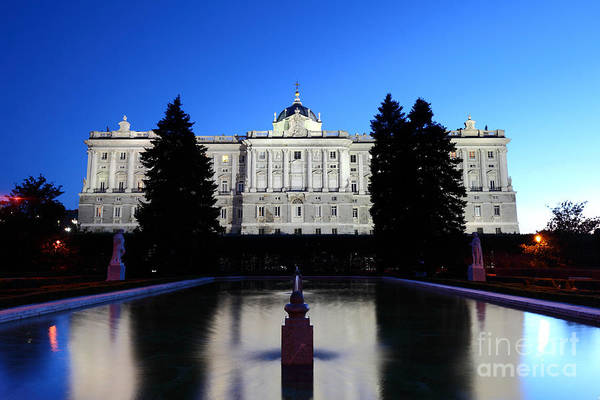 Photograph - Madrid Royal Palace And Sabatini Gardens At Blue Hour by James Brunker