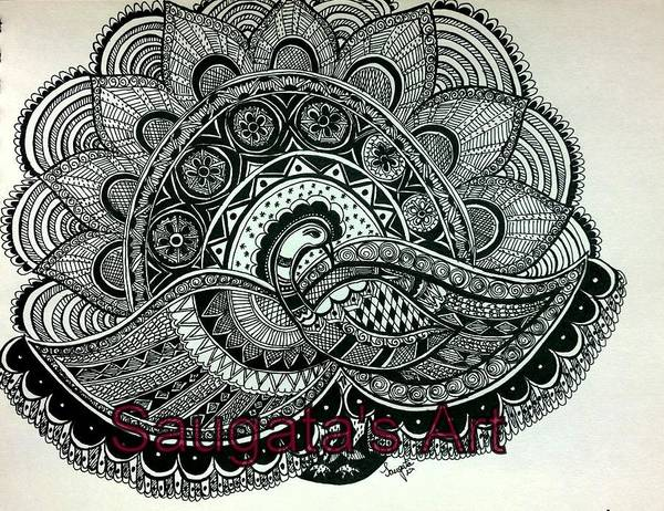 Madhubani Painting - The Magnificent Peacock by Saugata