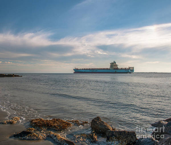 Photograph - Freighter Steaming Out Of Charleston Sc Harbor by Dale Powell