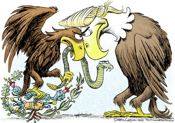 Drawing - Maga Vs Mexico by Daryl Cagle