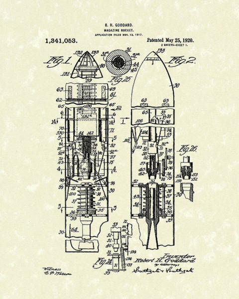 Rockets Drawing - Magazine Rocket 1920 Patent Art by Prior Art Design