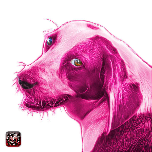 Painting - Magenta Beagle Dog Art- 6896 -wb by James Ahn