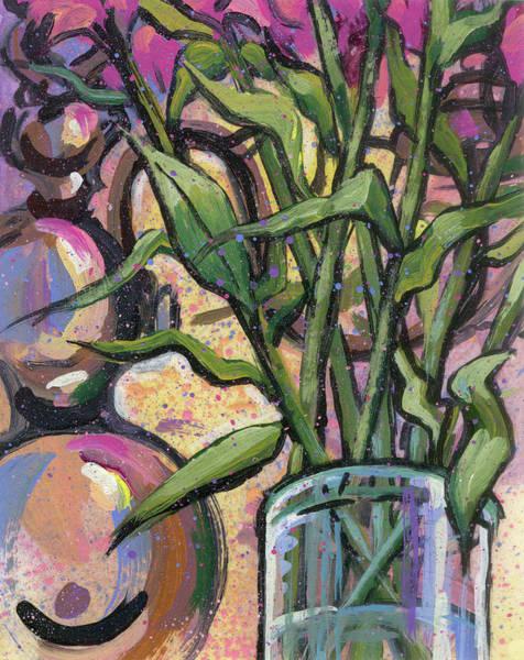 Magenta Bouquet On Mantel Art Print