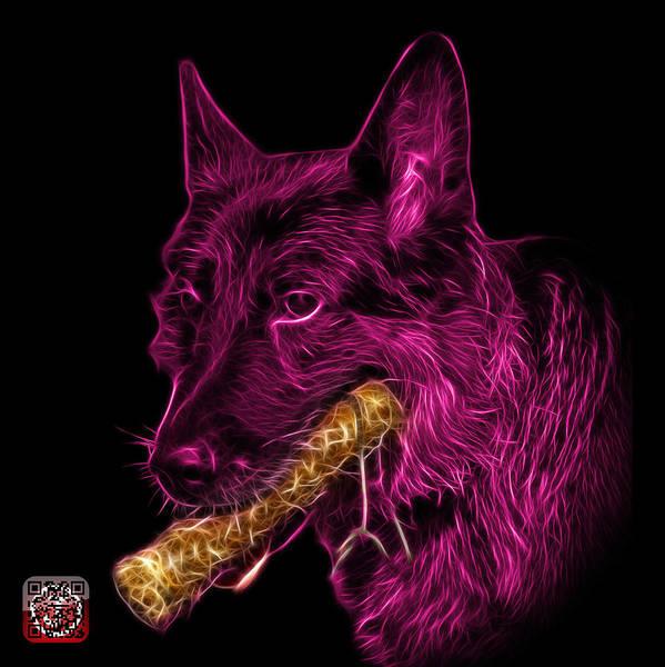 Digital Art - Magenta German Shepherd And Toy - 0745 F by James Ahn