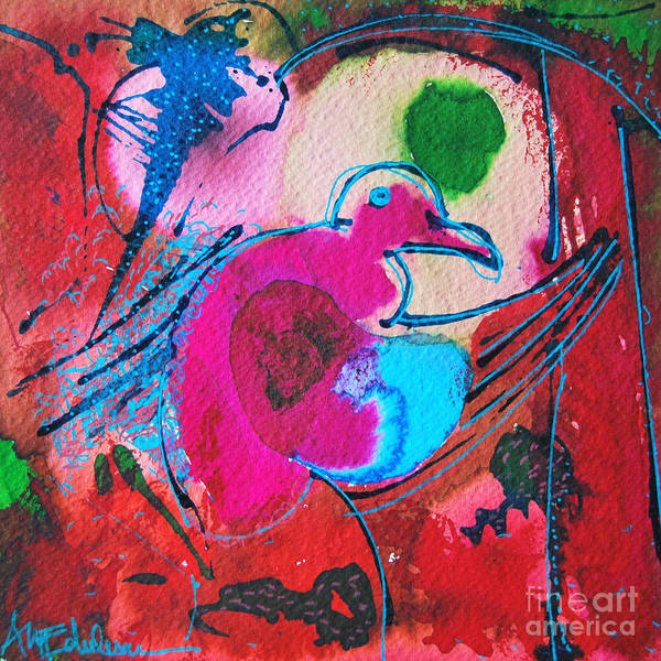 Happy Little Trees Painting - Magenta Marching Bird by Ana Maria Edulescu