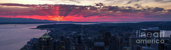 Elliot Bay Wall Art - Photograph - Magenta Sunrays Sunset Seattle Panorama by Mike Reid