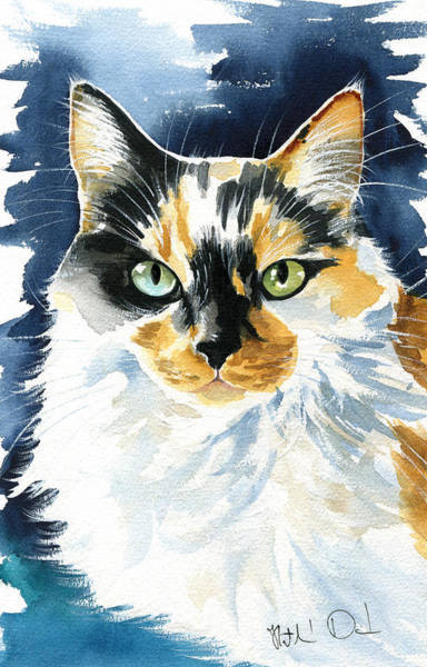 Painting - Maggie - Calico Cat Portrait by Dora Hathazi Mendes